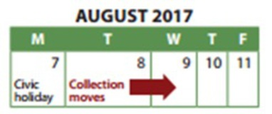 Civic Holiday Collection Schedule