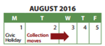 Waste Collection Schedule Civic Holiday, Monday, August 1st