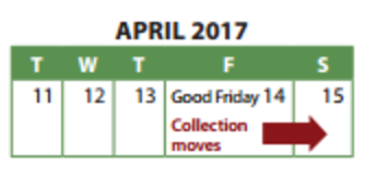 Waste Collection Easter Holiday Schedule