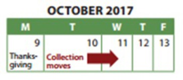 Halton Waste Collection for Kerr Village BIA-collection in the BIA's due to Thanksgiving – Monday October 9th, 2017.