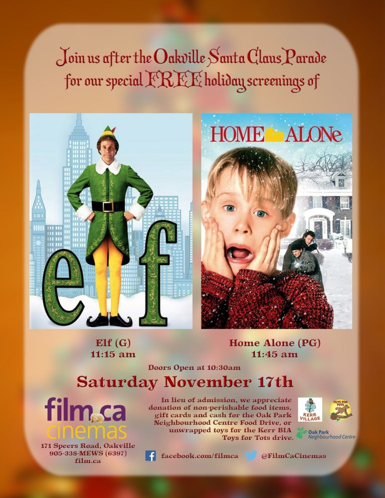 Free Christmas Movies after the Oakville Santa Claus Parade